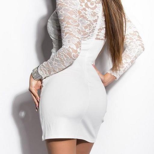 Vestido corto apuesto encaje blanco [2]