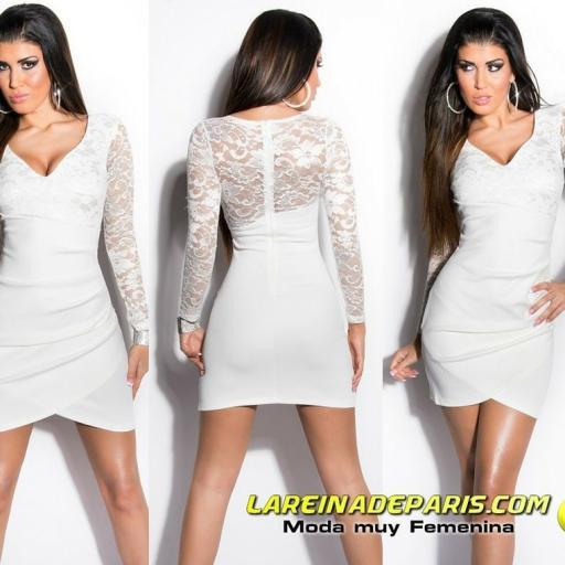 Vestido corto apuesto encaje blanco [3]