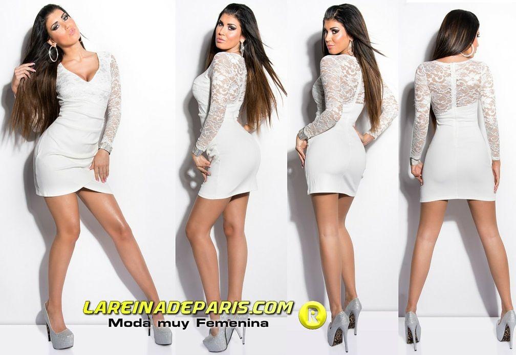 Vestido corto apuesto encaje blanco