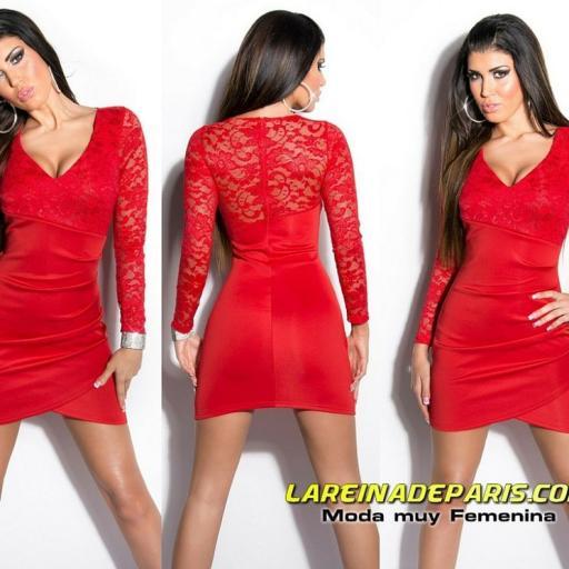 Vestido corto rojo apuesto con encaje                                                                                                                                                                                                          [3]