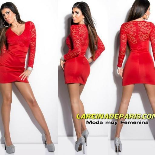 Vestido corto rojo apuesto con encaje