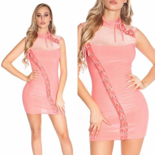 Mini vestido coral cordones entrelazados [2]