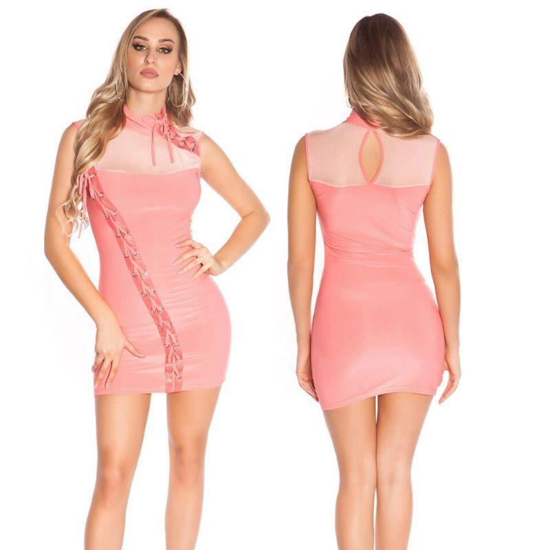 Mini vestido coral cordones entrelazados