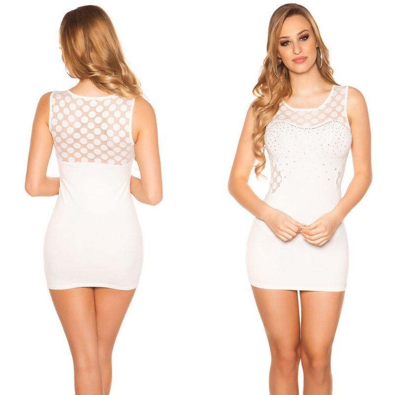 Vestido corto marcatipazo punto fino blanco