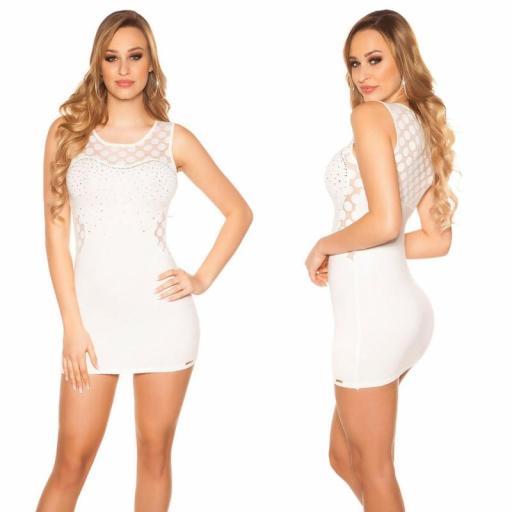 Vestido corto marcatipazo punto fino blanco [1]