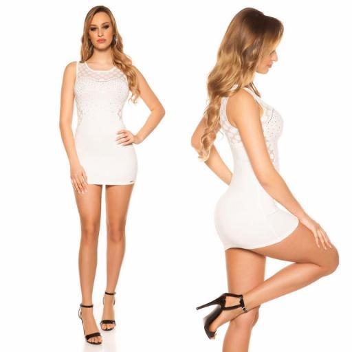 Vestido corto marcatipazo punto fino blanco [2]