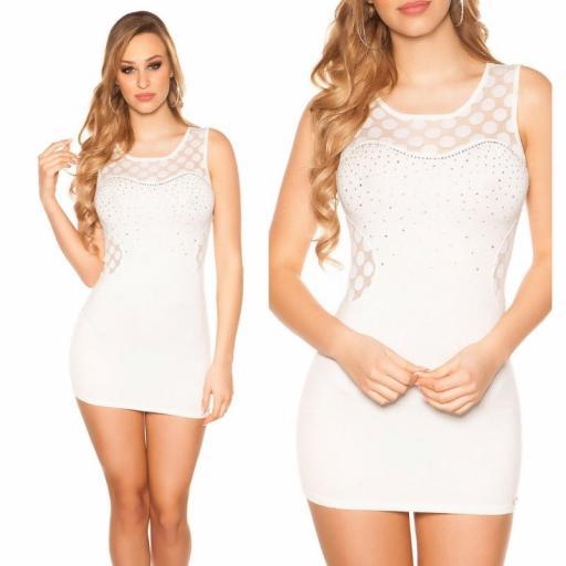 Vestido corto marcatipazo punto fino blanco [3]