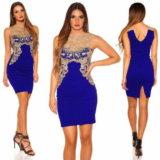 Vestido corto azul bordado elegante