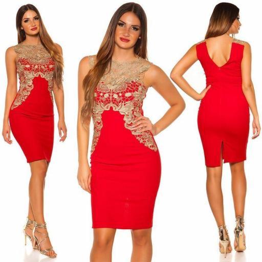 Vestido corto rojo bordado elegante