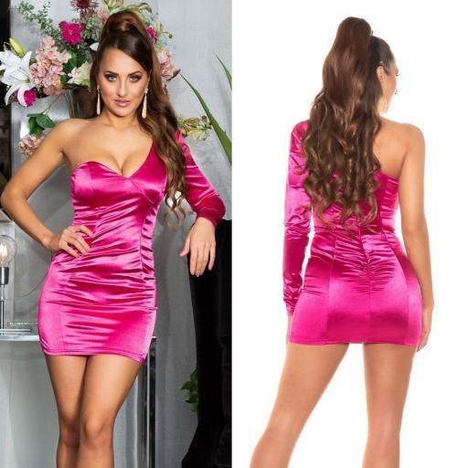 Vestido rosa satinado de moda  [2]
