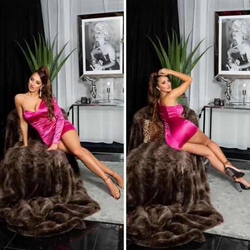 Vestido rosa satinado de moda  [3]