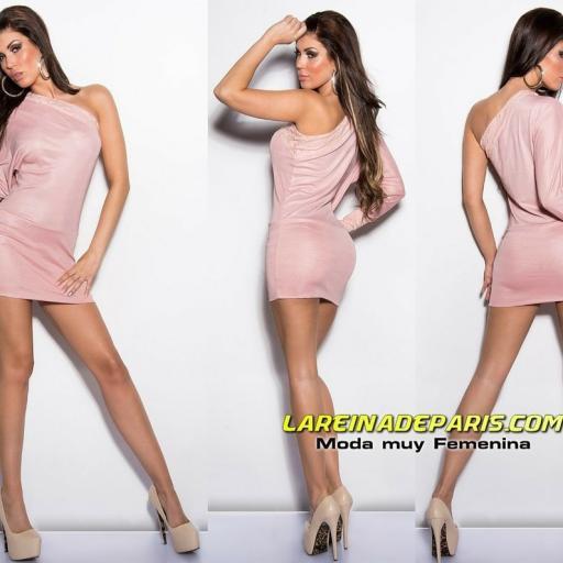 Vestido corto rosa tejido brillante