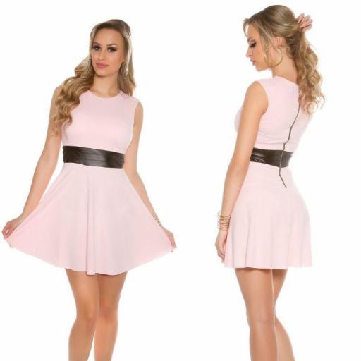 Vestido corto de moda cintura de cuero
