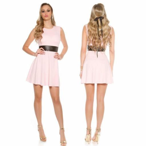 Vestido corto de moda cintura de cuero  [1]