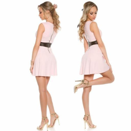 Vestido corto de moda cintura de cuero  [2]