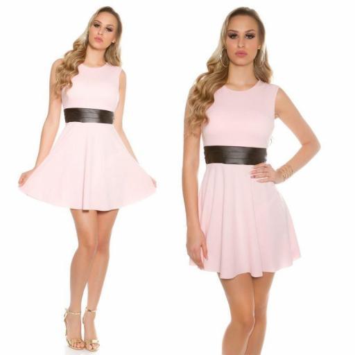 Vestido corto de moda cintura de cuero  [3]