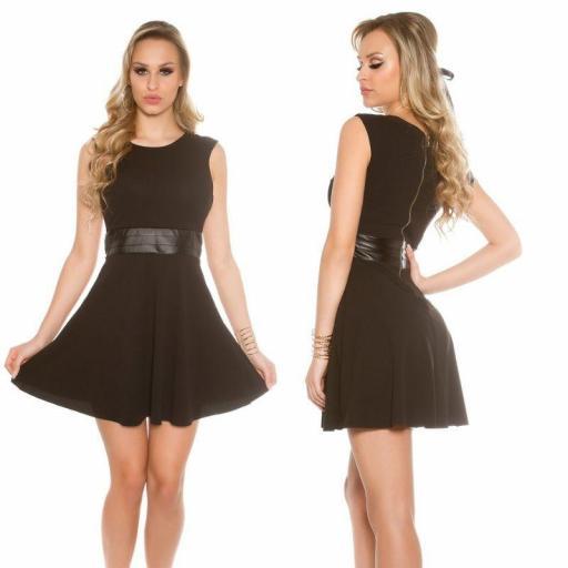Vestido corto negro cintura de cuero