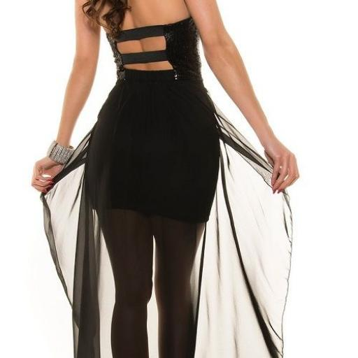 Vestido de fiesta corto con cola [2]