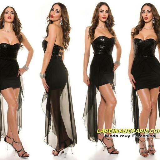 Vestido de fiesta corto con cola [3]