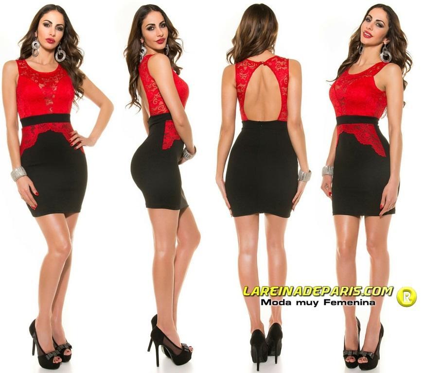 Vestido ceñido de encaje rojo de moda