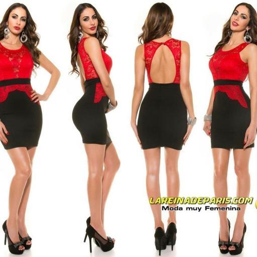 Vestido ceñido de encaje rojo de moda [0]
