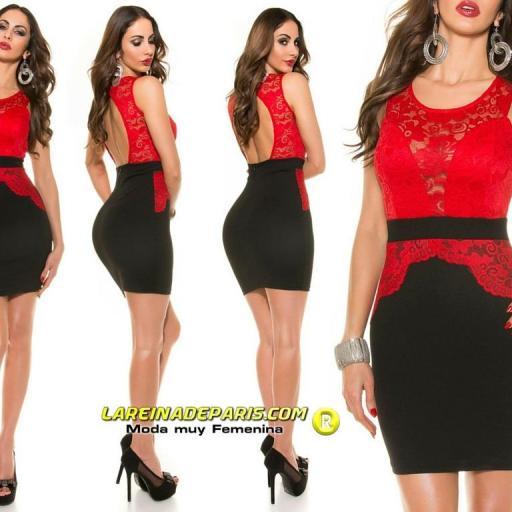 Vestido ceñido de encaje rojo de moda [1]
