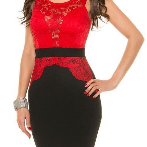 Vestido ceñido de encaje rojo de moda [2]