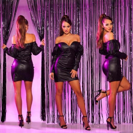 Vestido de cuero sintético de moda