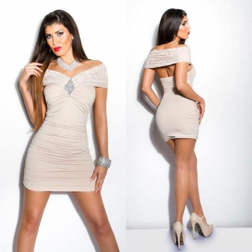 Vestido beige encaje brillo Kalia [3]