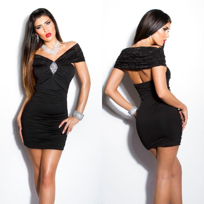 Vestido negro encaje brillo Kalia