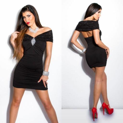 Vestido negro encaje brillo Kalia [2]