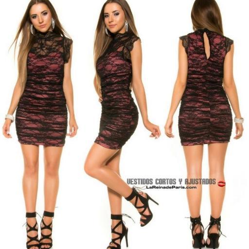Vestido 2 en 1 con encaje negro y coral [1]