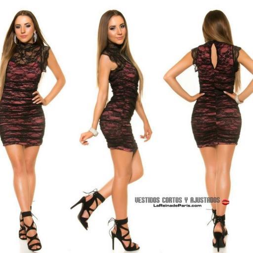 Vestido 2 en 1 con encaje negro y coral [2]