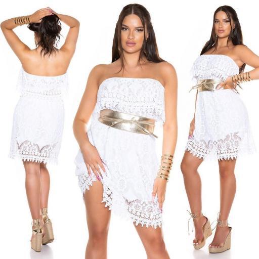 Vestido de encaje de verano blanco  [0]