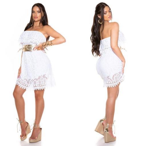 Vestido de encaje de verano blanco  [1]