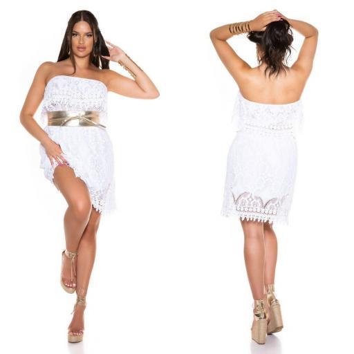 Vestido de encaje de verano blanco  [2]