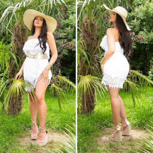 Vestido de encaje de verano blanco  [3]