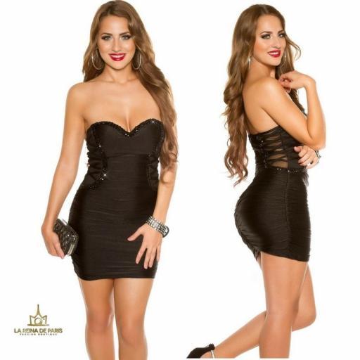 Vestido negro de fiesta ceñido bandeau