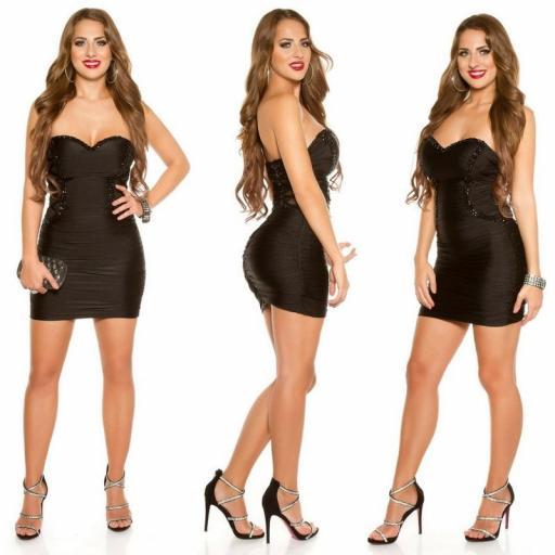 Vestido negro de fiesta ceñido bandeau [2]