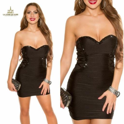 Vestido negro de fiesta ceñido bandeau [3]