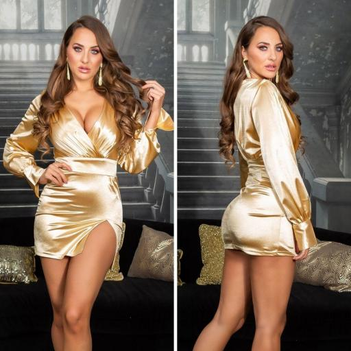 Vestido corto satinado gold escote en V [2]
