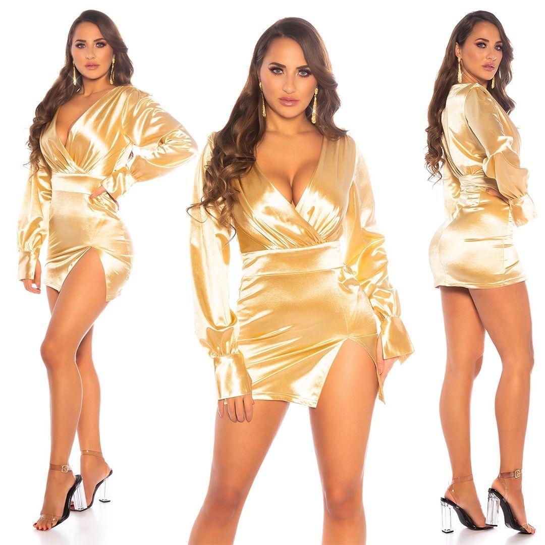 Vestido corto satinado gold escote en V
