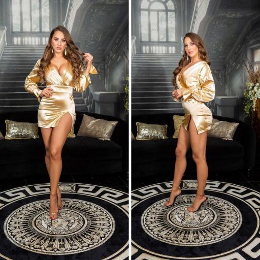 Vestido corto satinado gold escote en V [3]