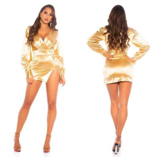 Vestido corto satinado gold escote en V [1]