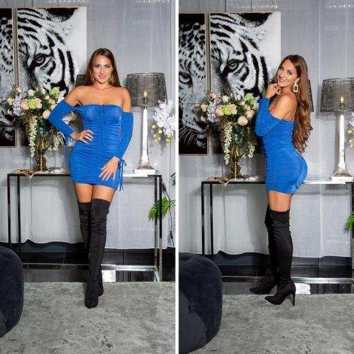 Vestido hombros desnudos azul