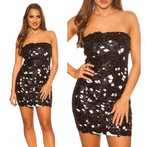 Vestido de fiesta brillante negro blanco [3]