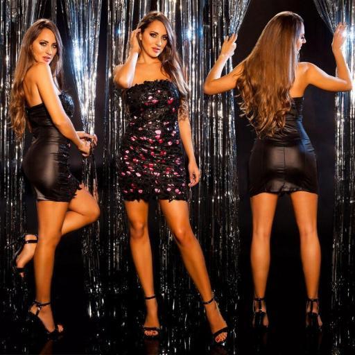 Vestido de fiesta brillante negro fucsia