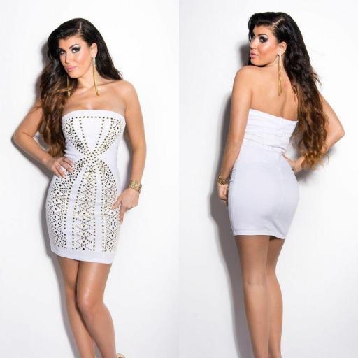 Vestido en oferta blanco con tachuelas