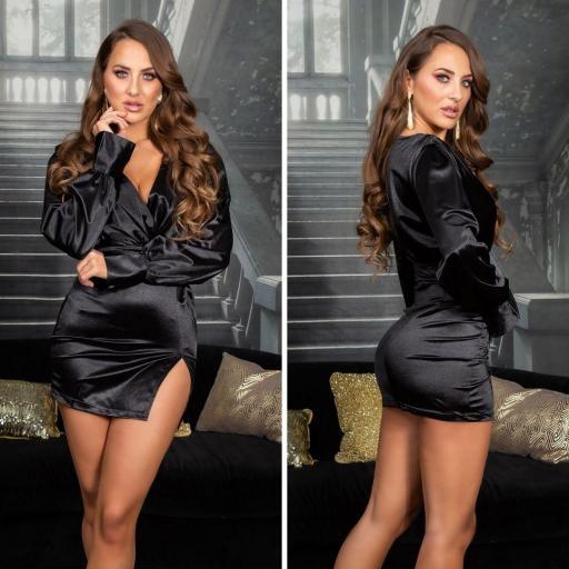Vestido corto satinado negro escote en V