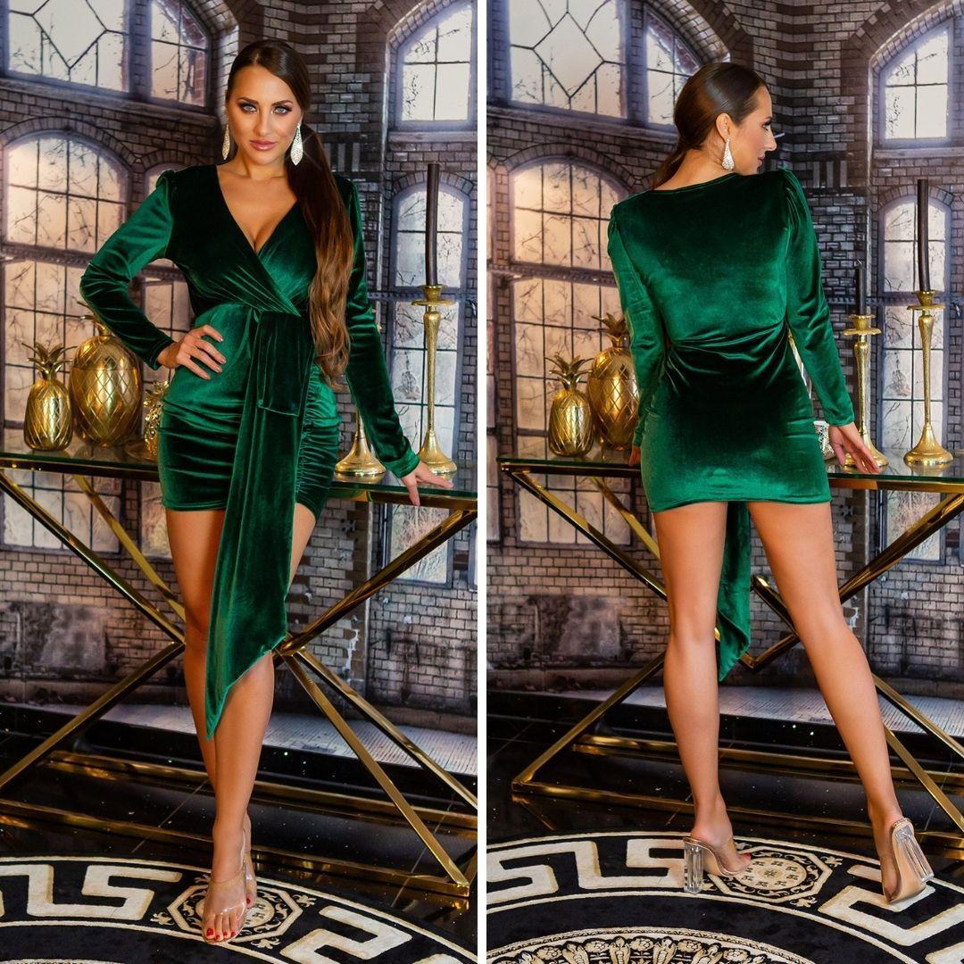 Vestido terciopelo brillante verde